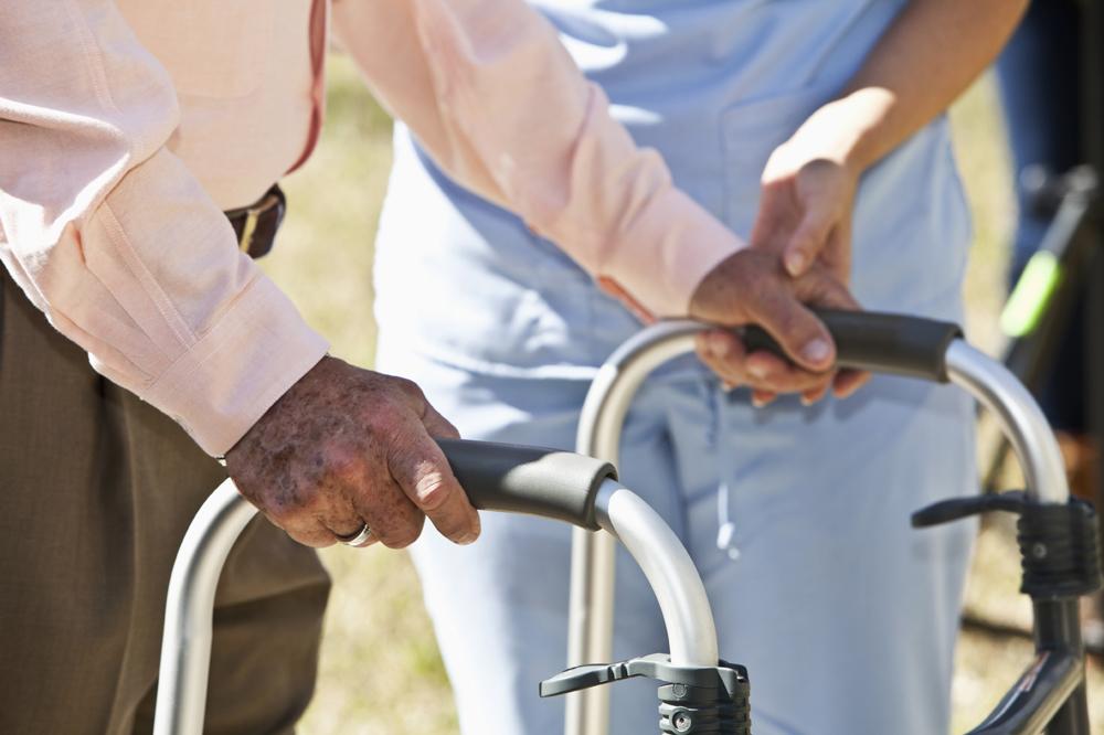 Older adult with walker